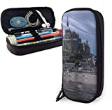 Estuche Lápices Majestic Building On The Sea Cute Pen Pencil Case Leather 8 X 3.5 X 1.5 Inch Pouch Bag Pencil Case with Double Zipper Holder Box for School Office Girls Boys Adults