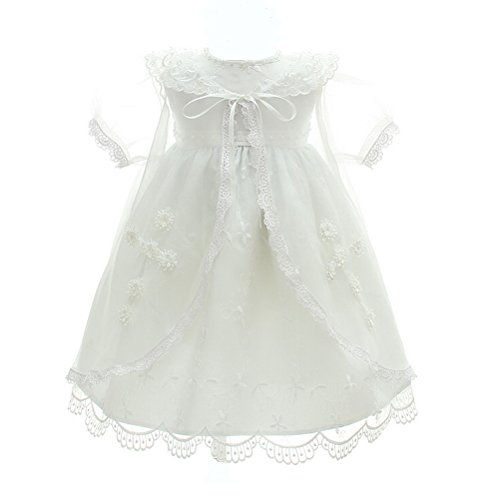 Baby Girl 3PCS Christening Dress Embroidery Jesus and Cross Baptism Party Dresses for Baby Girls Ivory White