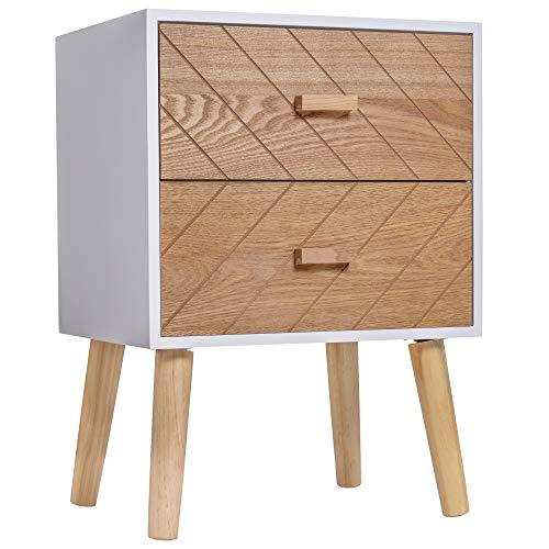 HOMCOM Nachttisch Nachtkommode Flurkommode mit Schubladen Holz weiß + Natur 40 x 30 x 55,5 cm