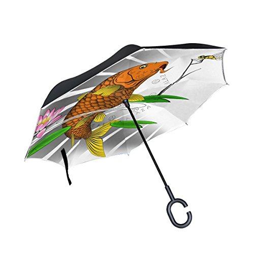 Ahomy Regenschirm/Regenschirm für Karpfenfische Libelle Lotus, groß, doppelt, Winddicht, Regenschutz, Auto-Rückwärtsschirme mit C-förmigem Griff