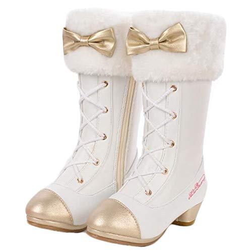 AOGD Princesse Fille Bottes de Neige Reine Ballerine Enfants Chaussures Accessoires de Costume Bottes à Talons Hauts Hiver Chaud Bottes Doublées En Plein Air Paillettes Festive Carnaval Anniversaire