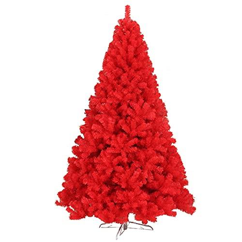 Scaffale albero di Natale rosso, foglie in PVC albero di pino con supporto in metallo per esterni e interni, grande albero di Natale artificiale, decorazione per ufficio, facile da montare