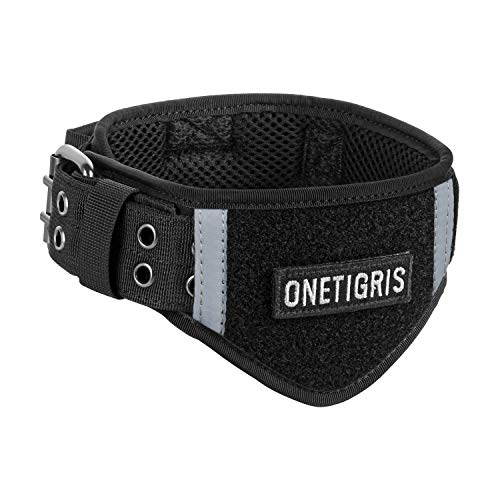 Tough Dog Collars, Adjustable Tactical Dog Collar Military Heavy Duty Collar Metal Buckle with Control Handle for Dog Training(Black,L)