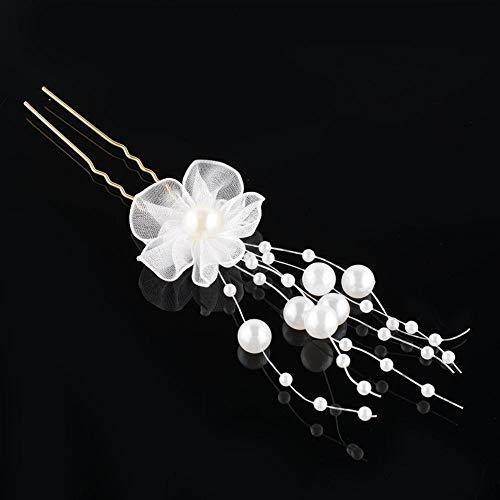 Peigne à cheveux blanc avec tulle et perle pour mariage.