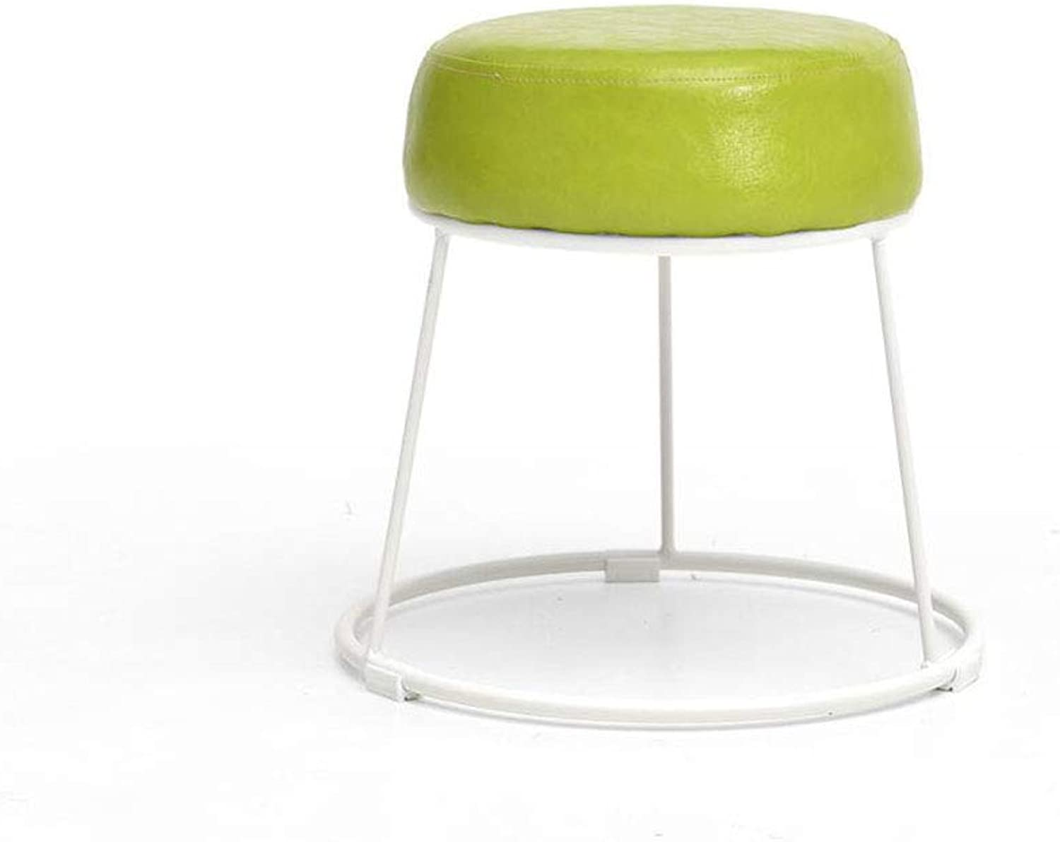 FU Bar Chair Round Iron Restaurant Living Room Creative Dining Stools Solid color PU Makeup Stools,Change shoes Bench,6 colors, Height 36cm (color   Dark Green, Size   38.5  36  28.5cm)
