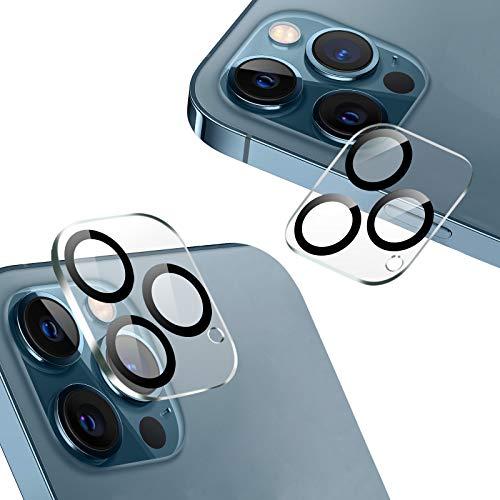 『2020秋改良モデル』AUNEOS iPhone 12 Pro Max 用 カメラフィルム 3眼レンズ黒縁取り 露出オーバー防止 日本旭硝子製 硬度9H キズ防止 耐衝撃 高透明度 防滴 防塵 極薄 タピオカレンズ カメラ全体保護 (黒縁取り2枚セット)