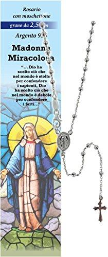 Rosario Virgen de los Milagros de plata 925 con cuentas de Ø 2,5 mm y una oración en italiano