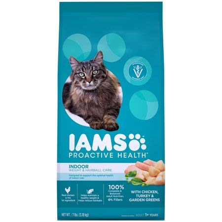 Iams Proactive Health Adult Indoor Weight & Hairball Care Dry Cat Food with Chicken, Turkey, and Garden Greens, 7 lb