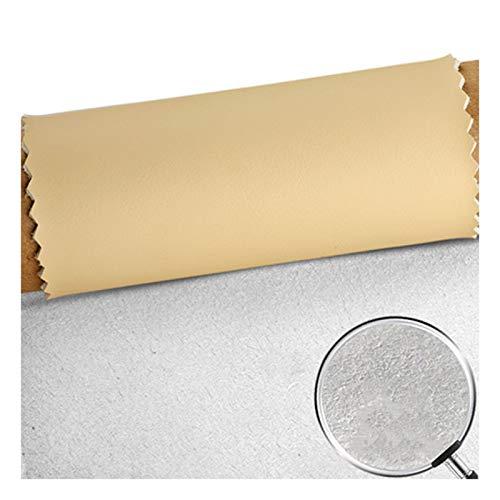 Tela por Metros de Polipiel para Tapizar, Amarillo Pálido Ancho 138cm Tela de Grano de Cuero de Imitación Material Texturizado por Tapizar, Polipiel, Manualida(Size:2m,Color:De Color Amarillo pálido)