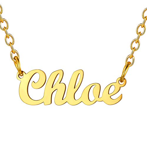 Chloe Name Chain Gold Nameplate Chloe Pendant & Adjustable 18' Rolo Chain(45CM+5CM) SCRIPT MT BLOOD Font Gift For Mother 18K Gold Plated Stainless Steel Women Jewellery Name Chloe Necklace For Lady