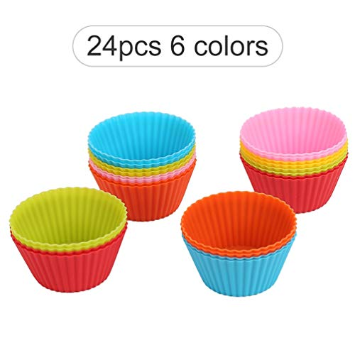 Reusable silicone cupcake baking cups, non-stick silicone cupcake liners with shapes round, muffin molds and cupcake, silicone molds set with 24 packs in 6 rainbow colors by Yong