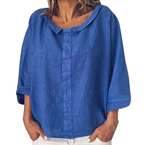 iYmitz 3/4-Arm Damen Streetwear Einfarbig Rundausschnitt Leinen Frauen Freizeit Bluse Sommer Freizeithemd(Blau,EU-46/CN-3XL)