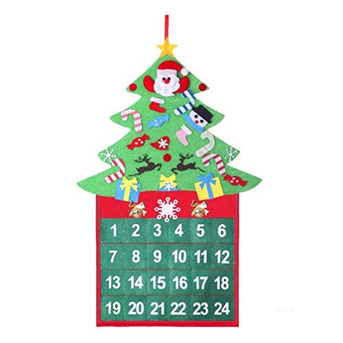 Amosfun Calendario de adviento del árbol de Navidad 24 días Cuenta Regresiva para Decoraciones de Navidad DIY de Navidad Decoraciones Colgantes de Puertas de Pared para el hogar