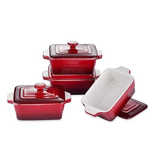 LOVECASA Moldes de Cerámica con Tapas, Juego de 4 Moldes para Soufflé Platos para Creme Brulee Postre Mini Cazuela 320ML Color Degradado Rojo