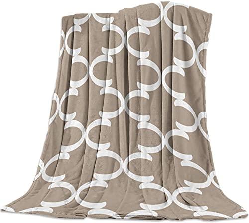 Marruecos Letra C de Verificación de Lujo de Franela Tirar de la Manta para Dormitorio, Sala de estar Sofá cama Silla Ligera, con Cálidas Mantas de Lana para Todas las Estaciones, de Te,40x50 pulgadas