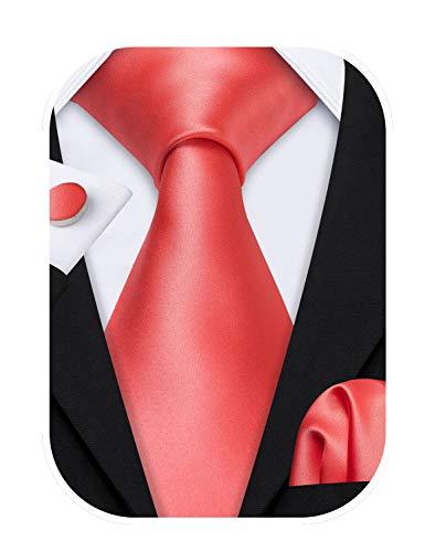 Barry.Wang - Juego de corbatas de satén formales de seda para boda, negocios, pañuelo, gemelos de colores sólidos Rosa coral Talla única