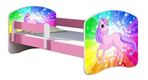 Kinderbett Jugendbett mit einer Schublade und Matratze Rausfallschutz Rosa 70 x 140 80 x 160 80 x 180 ACMA II (18 Pony Regenbogen, 70 x 140 cm)