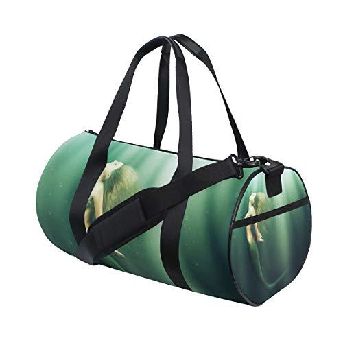 LUPINZ - Bolsa de Deporte de poliéster con diseño de Sirena para Nadar bajo el mar, para Gimnasio, Fitness, Deporte, Equipaje, para Mujer y Hombre, 18 x 9 x 9,5 Pulgadas