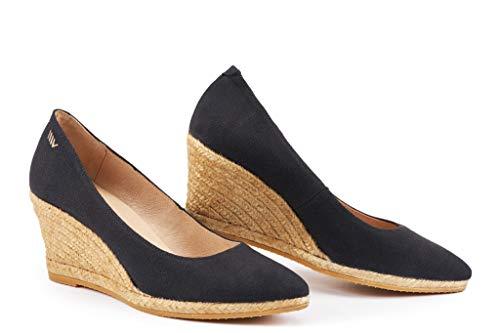 VISCATA - espadrillas con tacco 7 cm, stile elegante, morbida tela, slip-on., nero (Black), 36 EU