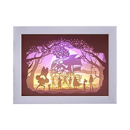 BEVANNJJ Luz de dormitorio Estudio lámparas de mesa Lámpara de escritorio ligera sombra de papel creativo de la lámpara de lectura lámpara de talla noche enciende el rey de los piratas estéreo acrílic