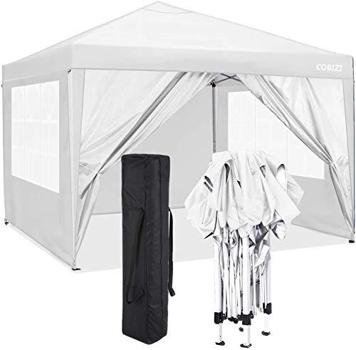 COBIZI Pavillon 3 x 3 WASSERDICHT, Pavillon inkl. Tasche wasserabweisend höhenverstellbar faltbar Pop-up Gartenzelt Partyzelt (3 x 3 m + 4 Seitenteilen + Tasche, Weiß)