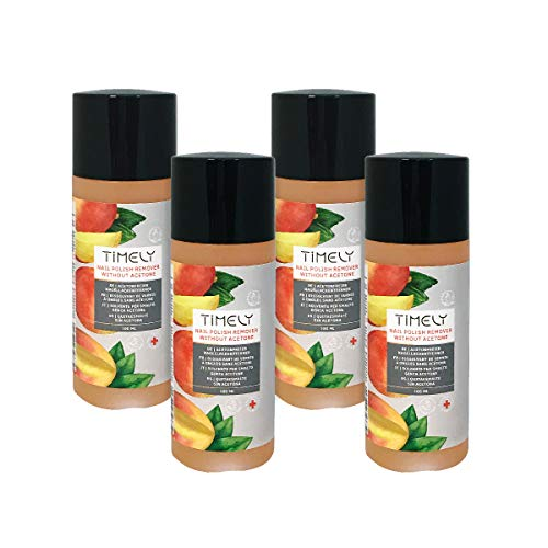 Timely Acetone-Free Nail Polish Remover with Vitamin E and A and Silk Proteins, Small Size, (Pack of 4 x 100 ml)