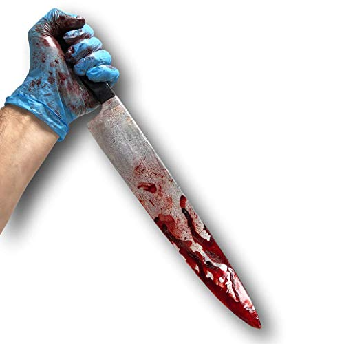 Rubber Johnnies International Bloody Kitchen Knife, Myers Style, Realistic, Movie Prop, Halloween, Horror
