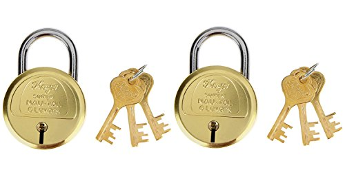 Koyo Super Nau-Tal KSNT_50 6 Levers 50mm Brass Padlock with Key (Pack of 2), Gold