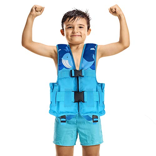 MoKo Life Jackets for Kids 50-90 lbs, Children Life Vest Swimming Aid Life Jacket Cute Pattern Watersports Swimming Vest Flotation Device for Toddlers Boys Girls, L Size - Blue