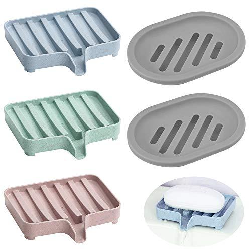 SENHAI Bandeja de jabón de 5 Piezas para Ducha,Jabonera Caja Jabonera Estuche Protector con Drenaje para encimera de baño, Ducha, Cocina, Mantenga el jabón seco y Limpio