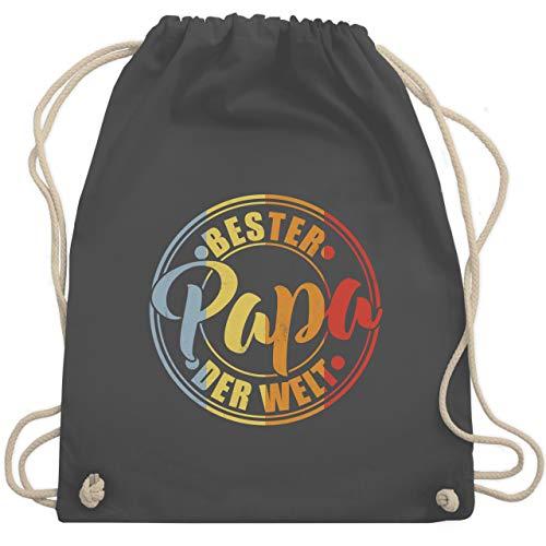 Shirtracer Vatertagsgeschenk - Bester Papa der Welt vintage- bunt - Unisize - Dunkelgrau - turnbeutel bester papa der welt - WM110 - Turnbeutel und Stoffbeutel aus Baumwolle