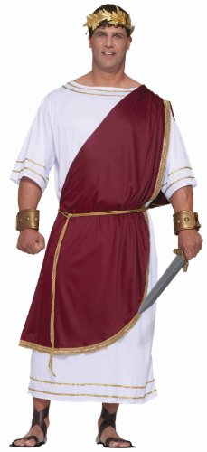 Forum Novelties Men's Plus-Size Extra Big Fun Mighty Caesar Costume, Red/White, 3X-Large
