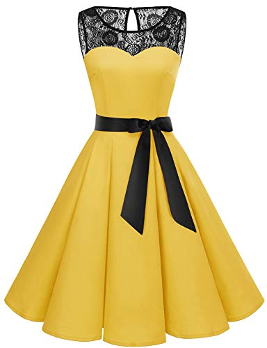 Bbonlinedress Vestido Mujer Corto Fiesta Boda Encaje Sin Mangas Yellow M