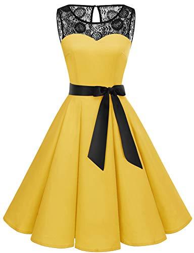 Bbonlinedress Donna 1950 Vintage Senza Maniche Rockabilly Cocktail Swing Dress Yellow M