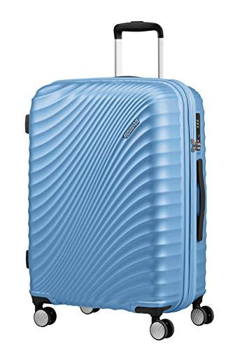 American Tourister Jetglam Spinner M Espandibile Valigia.67 cm, 77.5 Litri, Blu (Metallic Powder Blue)