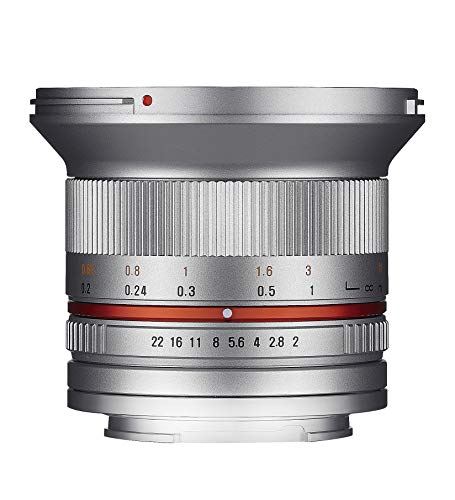 Samyang 12/2,0 Objektiv APS-C Sony E manueller Fokus Fotoobjektiv, Weitwinkelobjektiv silber
