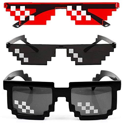[2 Pack] Thug Life Sunglasses, Men Women Glass 8 Bit Pixel Mosaic Glasses Photo Props Unisex Sunglass Toy - Black