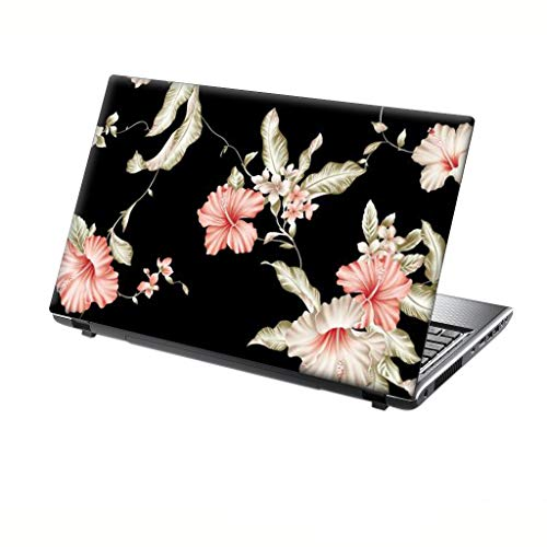 TaylorHe 13-14 inch Laptop Skin Vinyl Decal MADE IN ENGLAND Elegant Pink Flowers on Black Floral Pattern