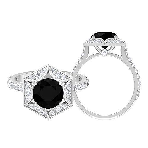 Anillo de compromiso vintage de 3 quilates con diamante negro creado en laboratorio y moissanitas (8 mm de forma redonda, 14K Oro blanco, Size:EU 58