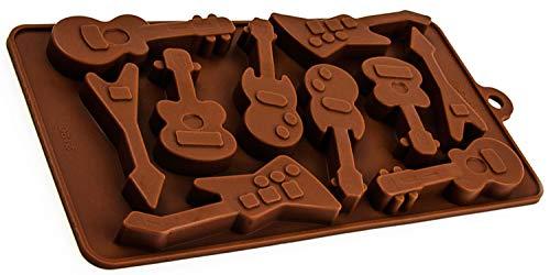Silikonform mit 10 Gitarren, Deko Form, Geschenk, Schokolade, Eiswürfel, Praline, Back–Form, Praline, Bass, Metal, elektrische-Klampfe, Ukulele, Farbe: Braun