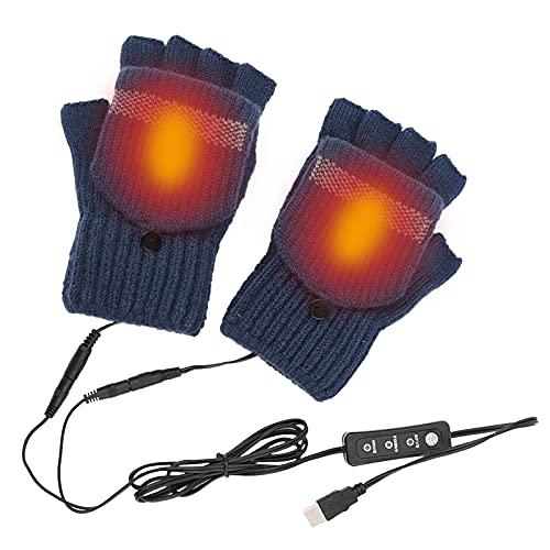 Guanti riscaldanti, guanti invernali mezze dita, copertura con flip, filato di lana per mantenere caldo, rimovibile e lavabile, regolazione della temperatura a tre velocità, guanti riscaldanti USB