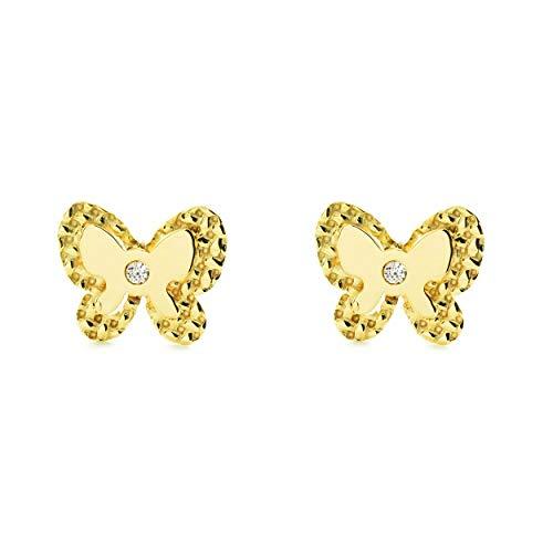 Orecchini Per Bambini Farfalla Con Zirconi - Oro Giallo 9K (375)
