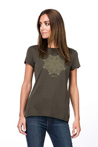 super.natural Weites Damen T-Shirt, Mit Merinowolle, W PRINT TEE, Größe: L, Farbe: Khaki/Beige