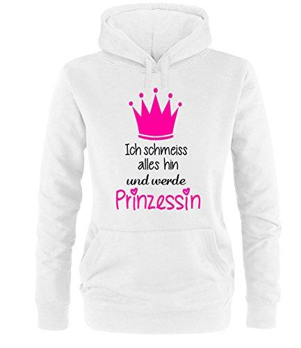Luckja Ich schmeiss Alles hin und werde Prinzessin Damen Hoodie Weiss-Schwarz/Neonpink Grösse S