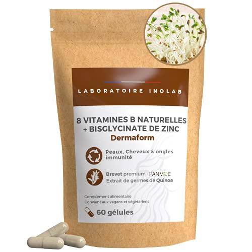 8 vitamines B naturelles (quinoa germé Bio) + Zinc  Sans vitamines de synthèse   Haute Assimilation Peau Cheveux Immunité (100% AJR en Biotine B1 B2 B3 B5 B6 B9 B12)