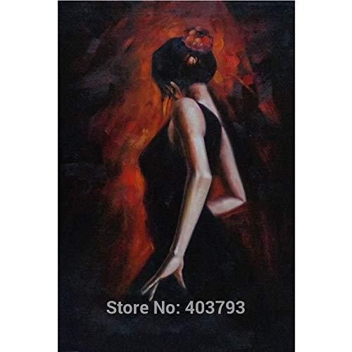 MAOYYM1 Pintura Al Óleo Hecha A Mano Baile Español Retrato Mujer Bailarina Impresionismo Arte Navidad Regalo Decoración para El Hogar (Sin Marco, Sólo Lienzo)