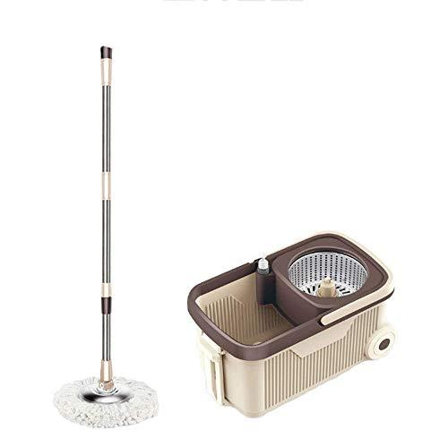 STRAW Mop - Spin Mop Bucket System Sistema de Limpieza de Piso de Acero Inoxidable Deluxe Spinning Mop Bucket con recambios de Cabeza de Microfibra