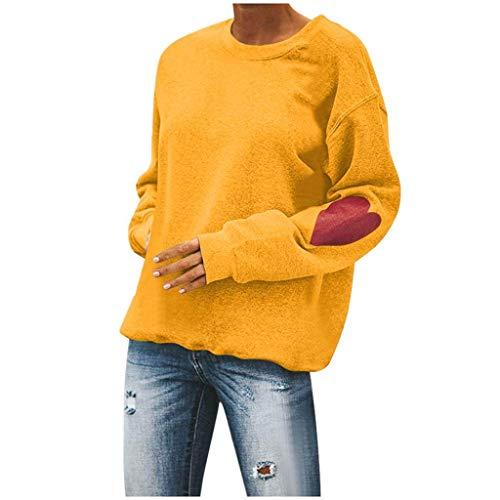 Sudadera para mujer con texto 'Liebe Drucke', manga larga, para fiestas, día de San Valentín, escote en O, informal, primavera, túnica amarillo XXL