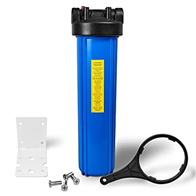 """20"""" Big Blue Housing for Whole House Water Filtration System, 1"""" Brass Port, Mounting Hardware Included!"""