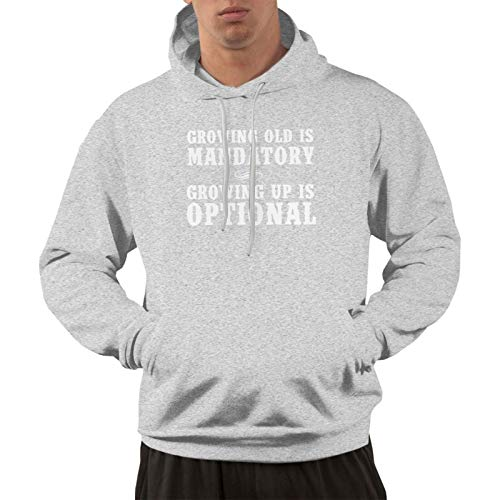 NozzFlux Growing Old is Mandatory, Growing Up is Optional Men's Hoodie Hoodie Jacket Hoody Pullovers Sweatshirt Fleeces Costume Gray L